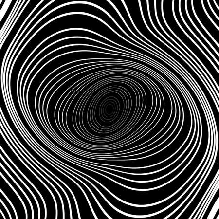deform: Design monochrome whirl ellipse movement background. Abstract stripy warped twisted backdrop. Vector-art illustration Illustration