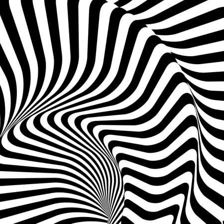 Ontwerp monochrome twirl beweging illusie kromgetrokken achtergrond. Abstract gestreepte lijnen vervorming achtergrond. Vector-kunst illustratie