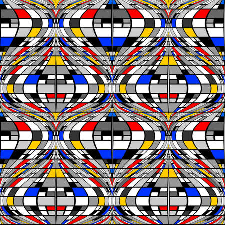 distortion: Design seamless colorful mosaic pattern. Abstract distortion textured twisted background. Vector art