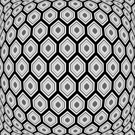 deform: Design monochrome warped hexagon pattern. Abstract convex textured background. Vector art