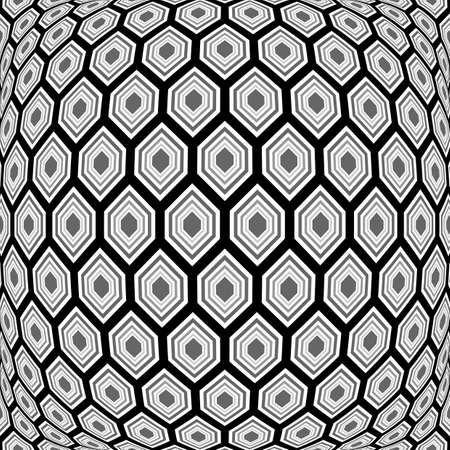 convex: Design monochrome warped hexagon pattern. Abstract convex textured background. Vector art