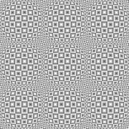 salient: Design seamless monochrome warped checked pattern. Abstract convex textured background. Vector art. No gradient