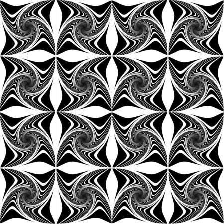 Design seamless monochrome decorative pattern. Abstract twisting lines background. Speckled texture. Vector art