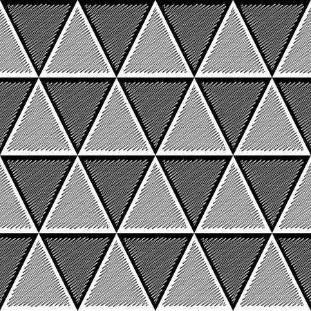 Design seamless monochrome triangle geometric pattern. Abstract doodle lines textured background. Vector art