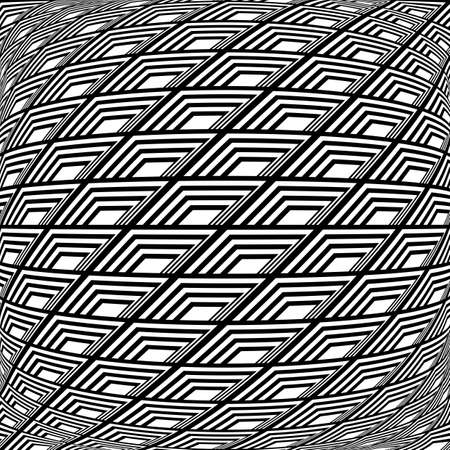 deform: Design monochrome warped grid pattern. Abstract latticed textured background. Vector art