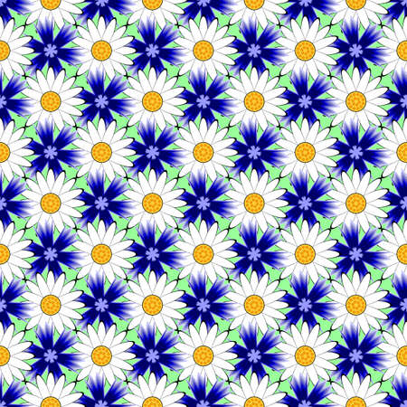 margerite: Design seamless colorful flower decorative pattern. Abstract diagonal textured background. Vector art