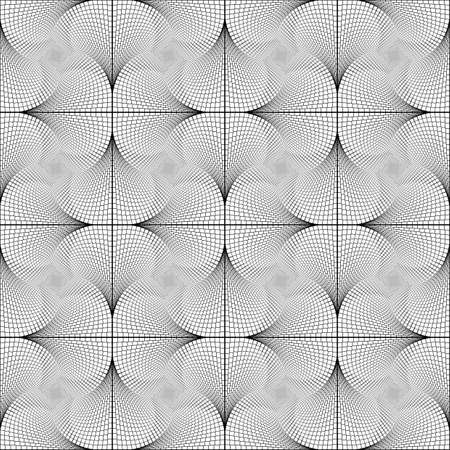 motley: Design seamless twirl movement checked geometric pattern. Abstract monochrome waving lines background. Speckled texture. Vector art Illustration