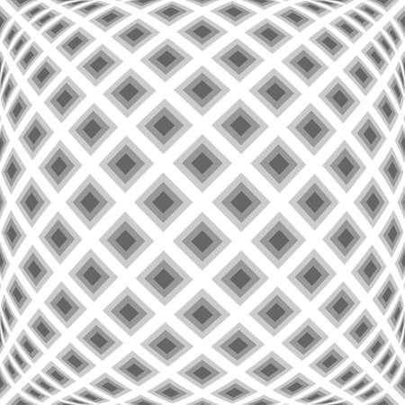 black background: Design monochrome warped diamond pattern. Abstract convex textured background. Vector art. No gradient