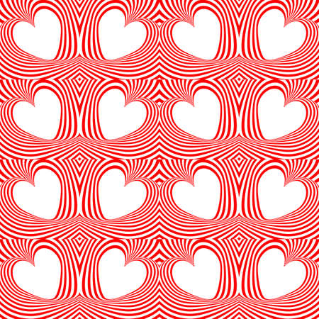 unusual valentine: Design seamless twirl movement stripy pattern. Abstract red hearts and twisted lines background. Speckled texture. Vector art Illustration