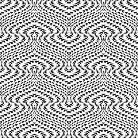 twisting: Design seamless monochrome movement illusion trellised pattern. Abstract distortion textured twisting background. Vector art Illustration