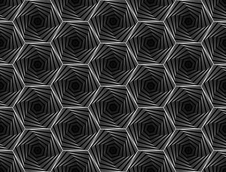Design seamless monochrome hexagon geometric pattern. Vector