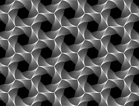 Design seamless monochrome hexagon geometric pattern.