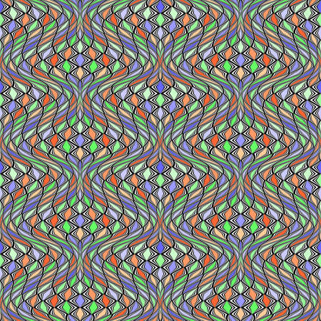 distortion: Design seamless colorful mosaic pattern. Abstract distortion textured twisted background. Illustration