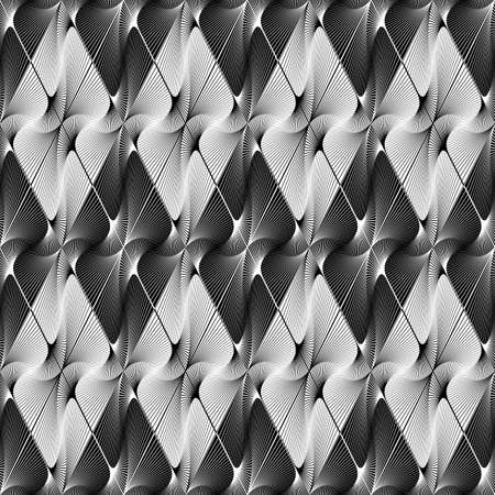 curving lines: Design seamless striped decorative geometric pattern. Abstract monochrome curving lines background.