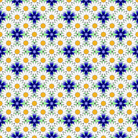 margerite: Design seamless colorful flower decorative pattern.  Illustration