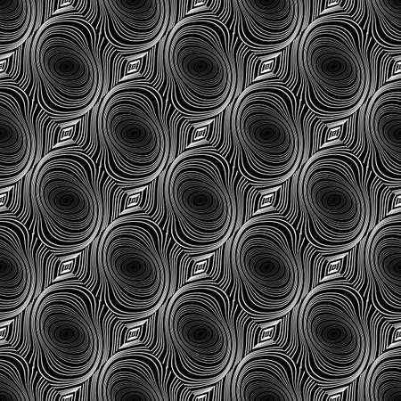 speckled: Design seamless whirl ellipse geometric pattern. Abstract monochrome waving lines background. Speckled twisted texture.