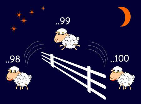 buonanotte: Pecore divertenti del fumetto saltando attraverso la recinzione. Vector-illustrazione arte