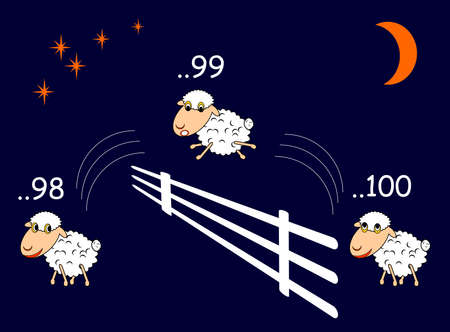 Funny cartoon sheep jumping through the fence. Vector-art illustration