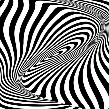Design monochrome vortex movement illusion background. Abstract stripy torsion backdrop. Vector-art illustration