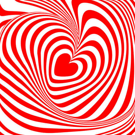 distortion: Design heart whirl illusion background. Abstract stripy distortion backdrop. Vector-art illustration
