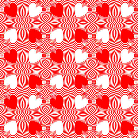 Design seamless twirl movement stripy heart pattern. Abstract red hearts and twisted lines background. Speckled texture. Vector art Vector