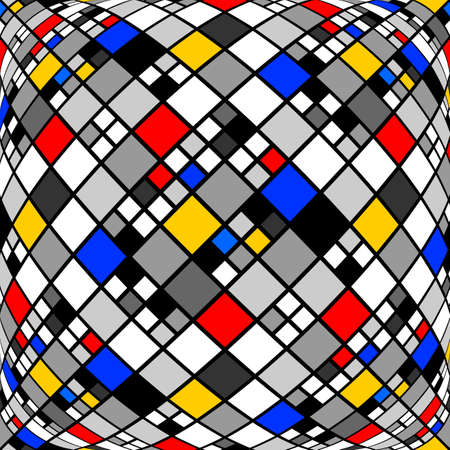 convex: Design monochrome warped diamond mosaic pattern. Abstract convex textured background. Vector art Illustration