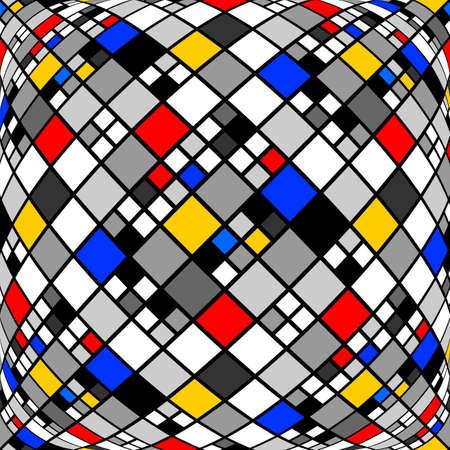 parallelogram: Dise�o blanco y negro deformado patr�n de mosaico de diamantes. Resumen textura de fondo convexo. Vector art