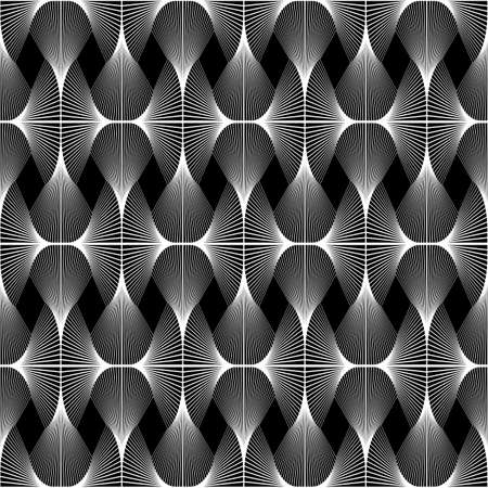 speckled: Design seamless diamond geometric pattern. Abstract monochrome waving lines background. Speckled twisted texture. Vector art. No gradient Illustration
