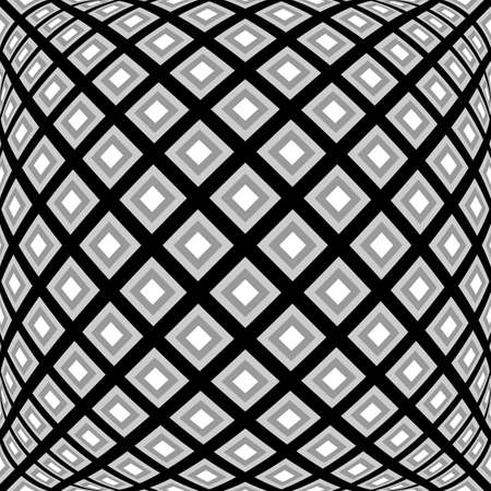 deform: Design monochrome warped diamond pattern. Abstract convex textured background. Vector art