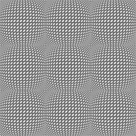 convex: Design seamless monochrome warped diamond pattern. Abstract convex textured background. Vector art Illustration