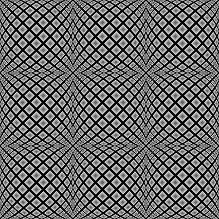 checkered volume: Design seamless monochrome warped diamond pattern. Abstract convex textured background. Vector art. No gradient