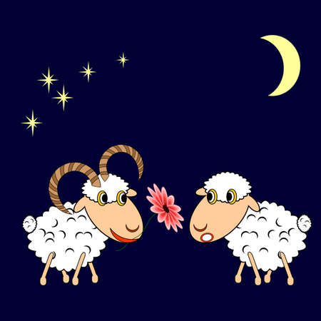 A ram presenting a sheep a flower. Funny cartoon illustration. Vector art Vector