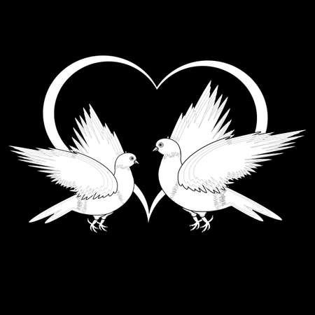 A monochrome sketch of two flying doves and a heart. Vector-art illustration Vector