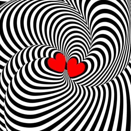 torsion: Design hearts twisting movement illusion background. Abstract strip torsion backdrop. Vector-art illustration