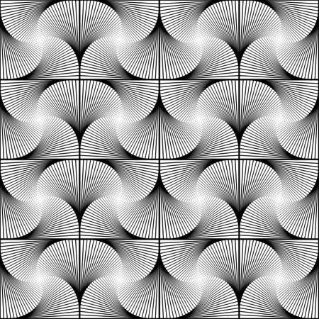 motley: Design seamless twirl movement striped geometric pattern. Abstract monochrome waving lines background. Speckled texture. Vector art Illustration