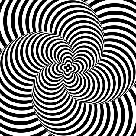 torsion: Design monochrome whirlpool motion illusion background. Abstract striped distortion backdrop. Vector-art illustration