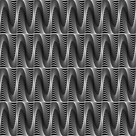 원활한 파도 기하학적 인 패턴을 디자인합니다. 추상 흑백 장식 배경입니다. 얼룩덜룩 한 질감. 벡터 아트