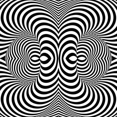 Ontwerp monochrome werveling beweging illusie achtergrond. Abstracte streep torsie achtergrond. Vector-kunst illustratie