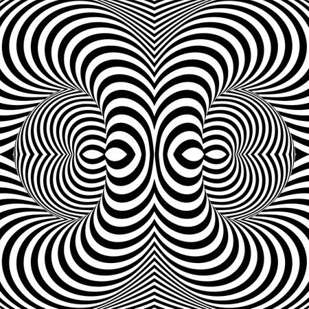 Design monochrome whirl movement illusion background. Abstract stripe torsion backdrop. Vector-art illustration Illustration