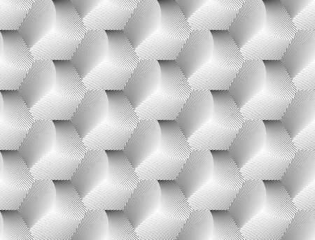 speckled: Design seamless hexagon geometric pattern. Abstract monochrome lines background. Speckled texture. Vector art. No gradient