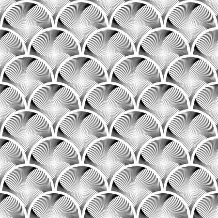 Design seamless circle striped geometric pattern. Abstract monochrome waving lines background. Speckled texture. Vector art