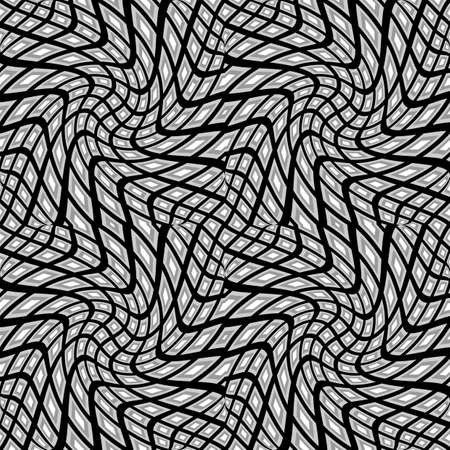 parallelogram: Design seamless monochrome warped geometric pattern Illustration