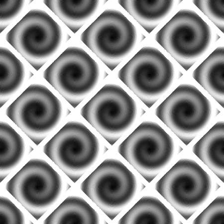 speckled: Design seamless spiral movement geometric pattern. Abstract monochrome waving lines background. Speckled twisted texture. Vector art Illustration