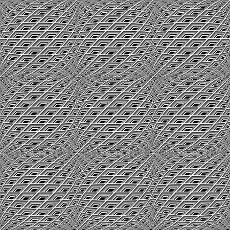 checkered volume: Design seamless monochrome warped grid pattern