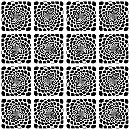 snakeskin: Design seamless monochrome spiral movement snakeskin pattern. Abstract background in op art style. Vector art