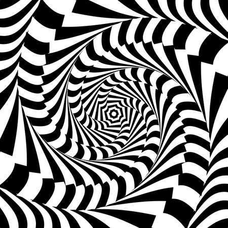 Design monochrome whirl movement illusion background. Abstract stripe torsion backdrop. Vector-art illustration 向量圖像