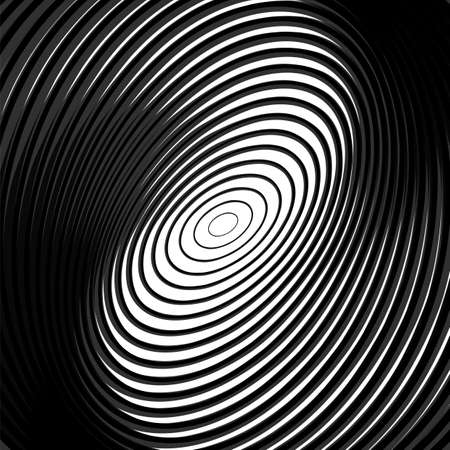 deform: Design monochrome whirl circular motion background. Abstract striped distortion backdrop. Vector-art illustration. EPS10 Illustration