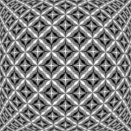 checkered volume: Design monochrome warped grid pattern. Abstract latticed textured background. Vector art