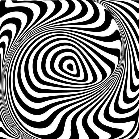 torsion: Design monochrome swirl movement illusion background. Abstract stripe drop torsion backdrop. Vector-art illustration Illustration