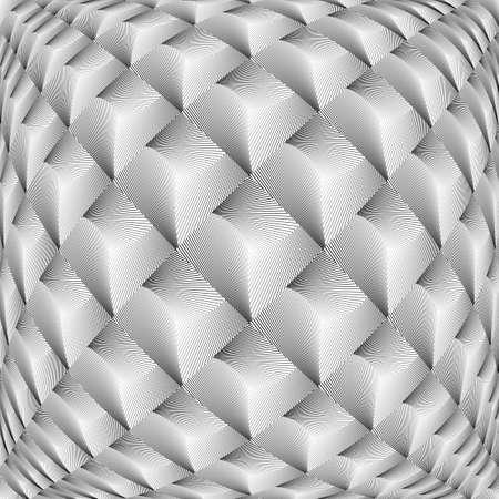 checkered volume: Design monochrome warped grid diamond pattern. Abstract volume textured background. Vector art